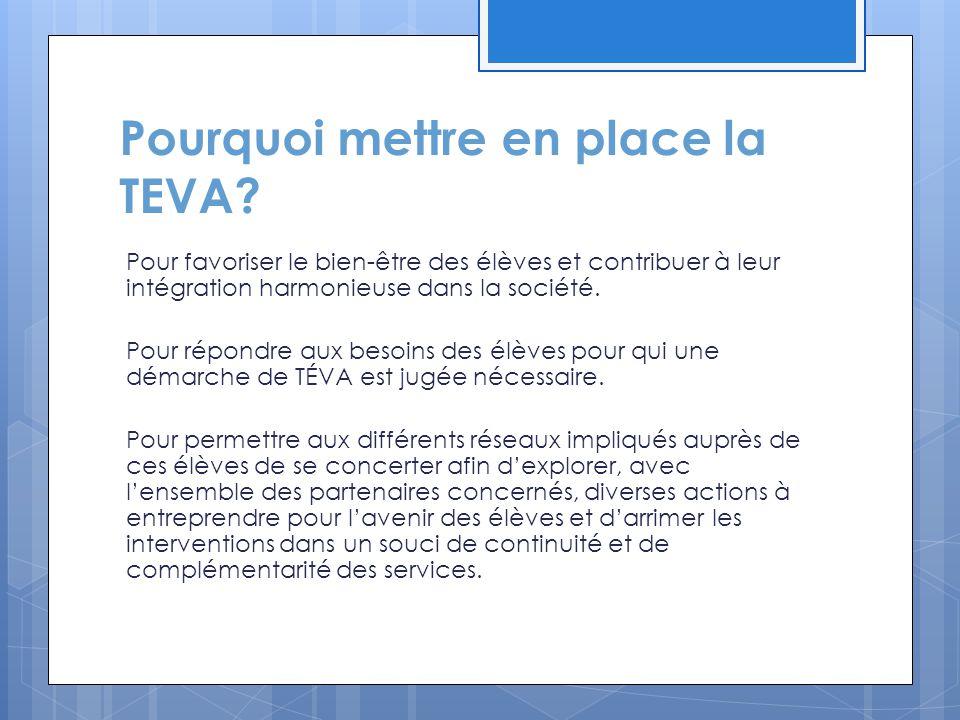 En ce sens, le gouvernement du Québec s'est engagé :  via la Stratégie d'action jeunesse 2009-2014, à favoriser le passage à la vie active et le maintien en emploi;  via la Stratégie nationale pour l'intégration et le maintien en emploi des personnes handicapées, à soutenir davantage, à partir de 2008, la planification de la transition de l'école à la vie active des élèves handicapés;  via la Politique gouvernementale « À part entière : pour un véritable exercice du droit à l'égalité », à accroître l'accès, la complémentarité et la coordination des programmes et des services;