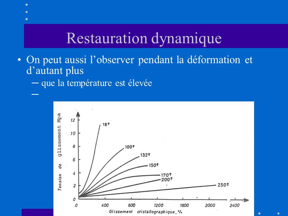 Restauration dynamique •On peut aussi l'observer pendant la déformation et d'autant plus ─ que la température est élevée ─