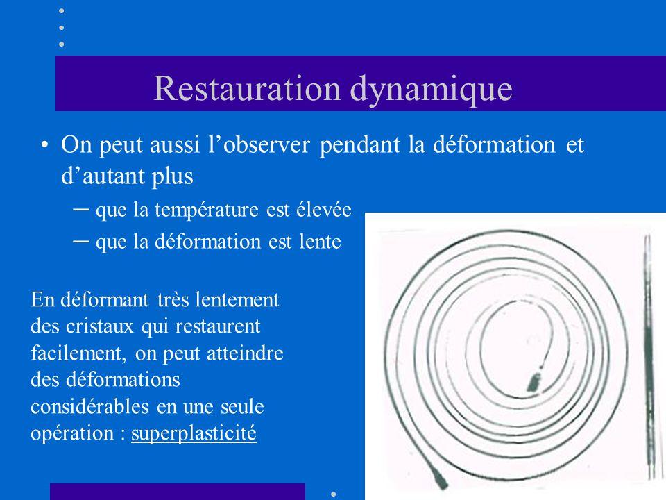Restauration dynamique •On peut aussi l'observer pendant la déformation et d'autant plus ─ que la température est élevée ─ que la déformation est lent
