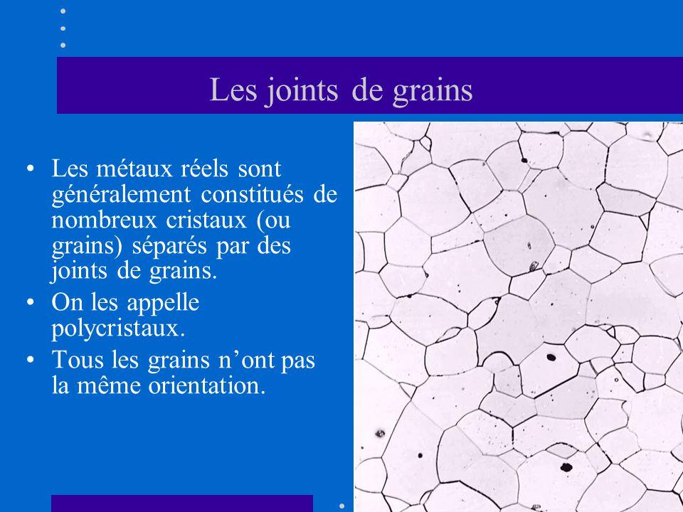 Les joints de grains •Les métaux réels sont généralement constitués de nombreux cristaux (ou grains) séparés par des joints de grains. •On les appelle