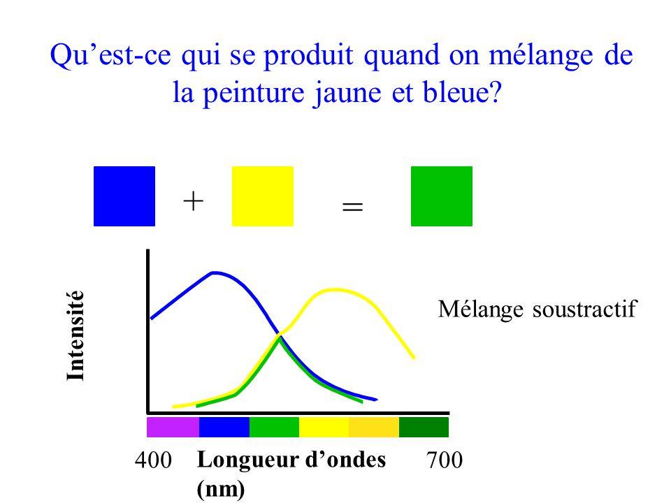 + = Longueur d'ondes (nm) 400700 Intensité Mélange soustractif Qu'est-ce qui se produit quand on mélange de la peinture jaune et bleue?