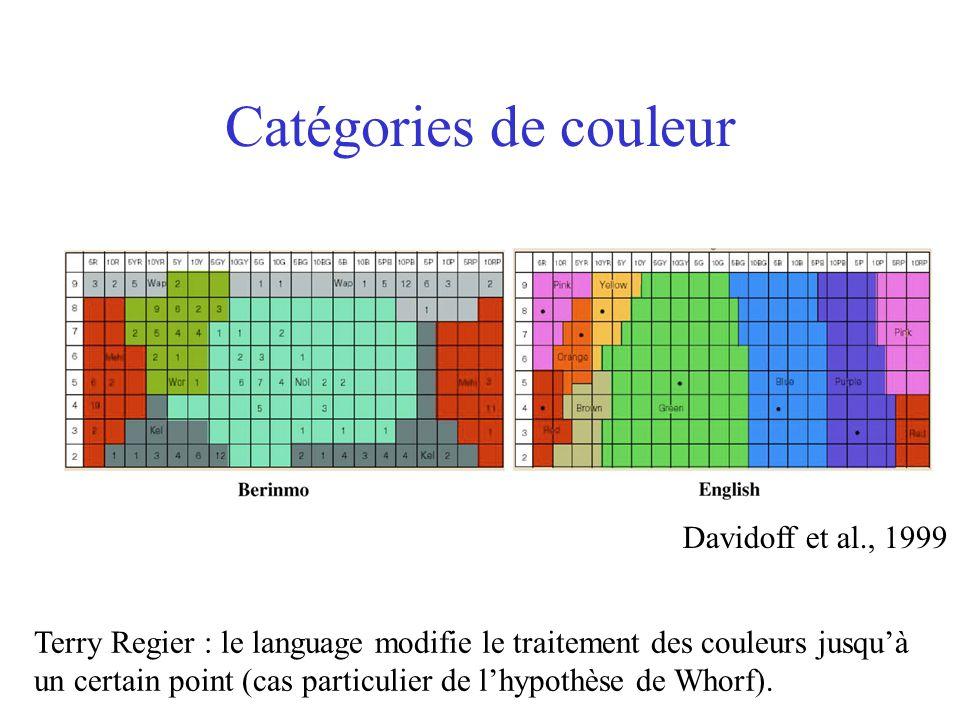 Catégories de couleur Davidoff et al., 1999 Terry Regier : le language modifie le traitement des couleurs jusqu'à un certain point (cas particulier de l'hypothèse de Whorf).