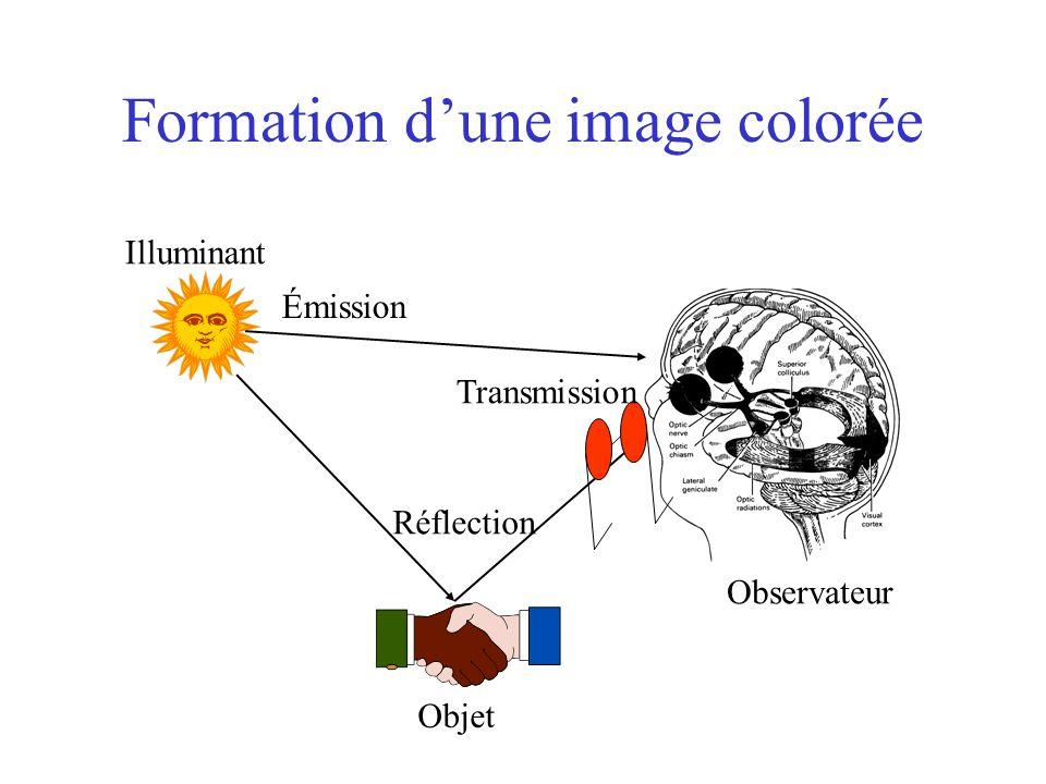 Formation d'une image colorée Observateur Réflection Transmission Émission Illuminant Objet