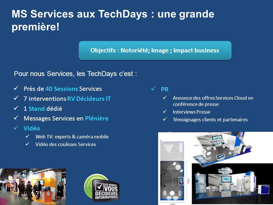 MS Services aux TechDays : une grande première!  Près de 40 Sessions Services  7 interventions RV Décideurs IT  1 Stand dédié  Messages Services e