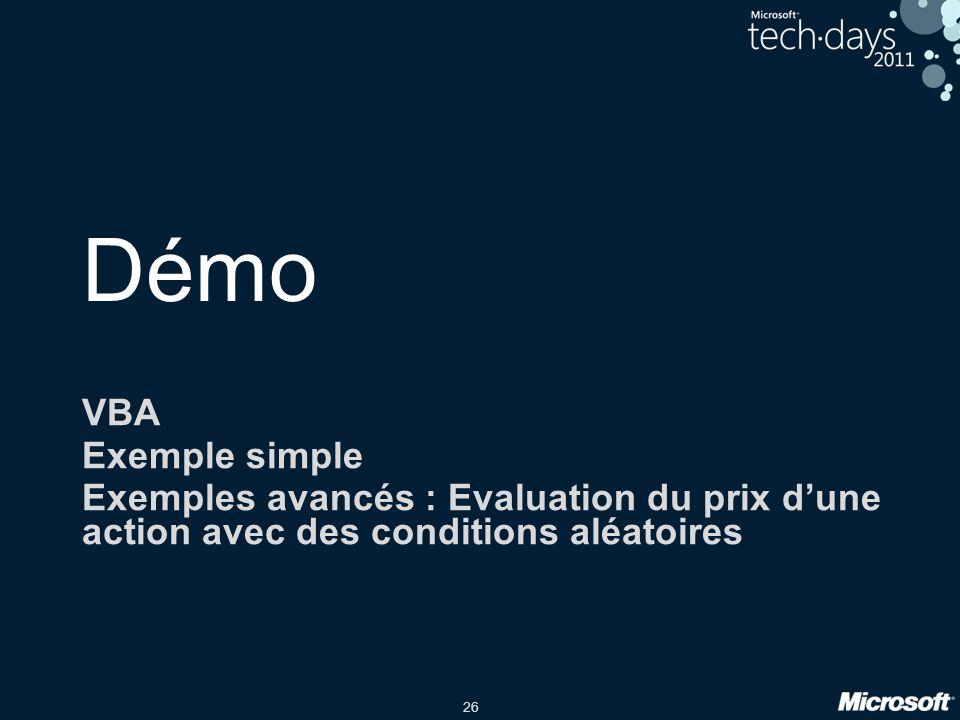 26 Démo VBA Exemple simple Exemples avancés : Evaluation du prix d'une action avec des conditions aléatoires