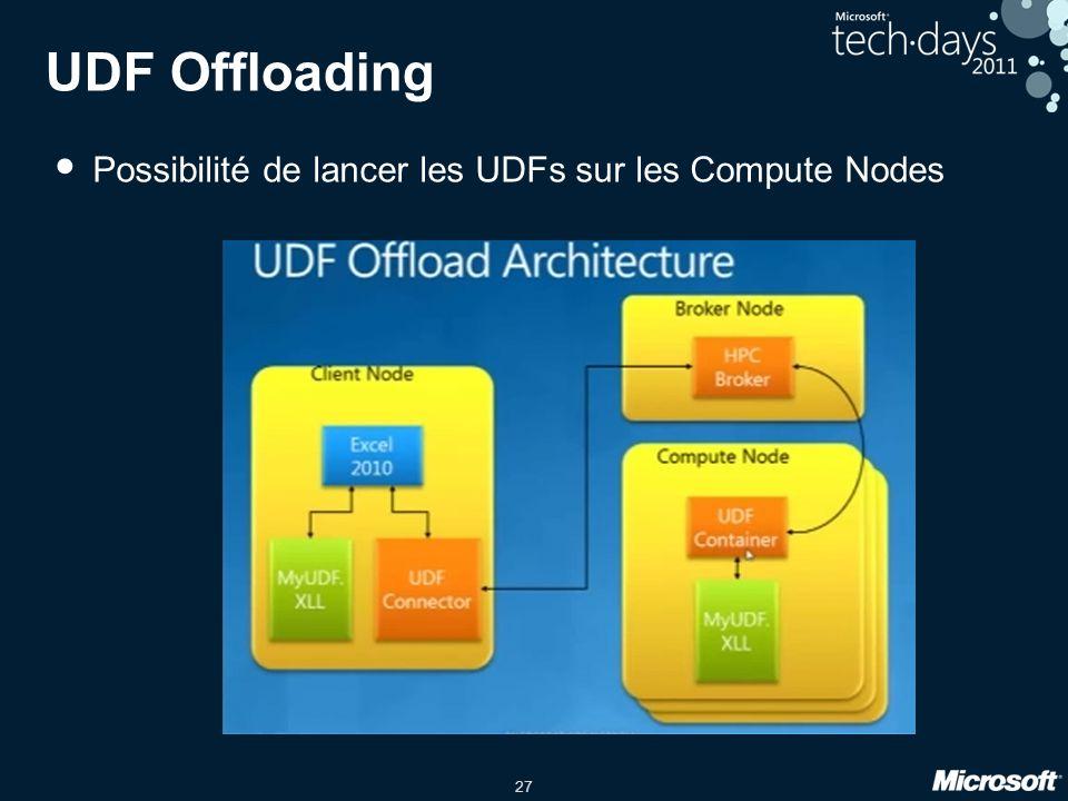 27 UDF Offloading • Possibilité de lancer les UDFs sur les Compute Nodes