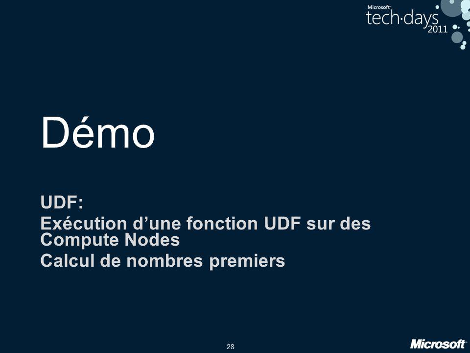 28 Démo UDF: Exécution d'une fonction UDF sur des Compute Nodes Calcul de nombres premiers