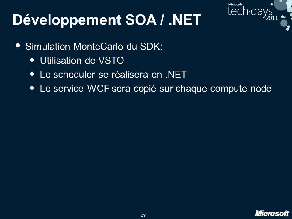 29 Développement SOA /.NET • Simulation MonteCarlo du SDK: • Utilisation de VSTO • Le scheduler se réalisera en.NET • Le service WCF sera copié sur ch