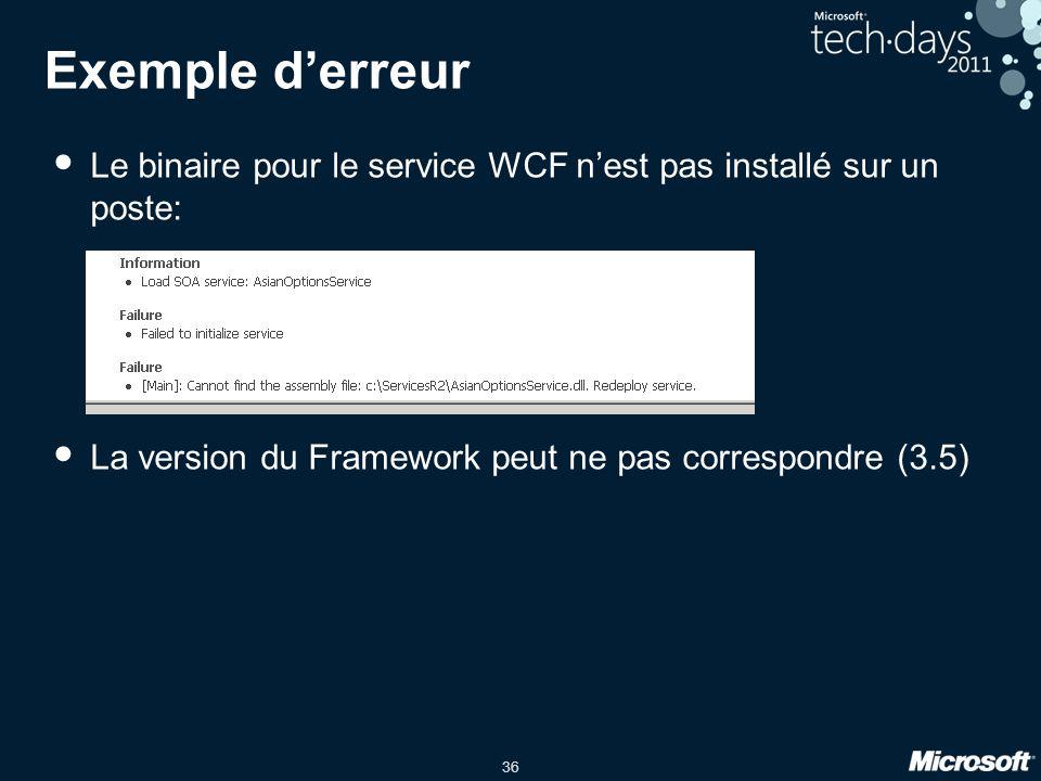 36 Exemple d'erreur • Le binaire pour le service WCF n'est pas installé sur un poste: • La version du Framework peut ne pas correspondre (3.5)