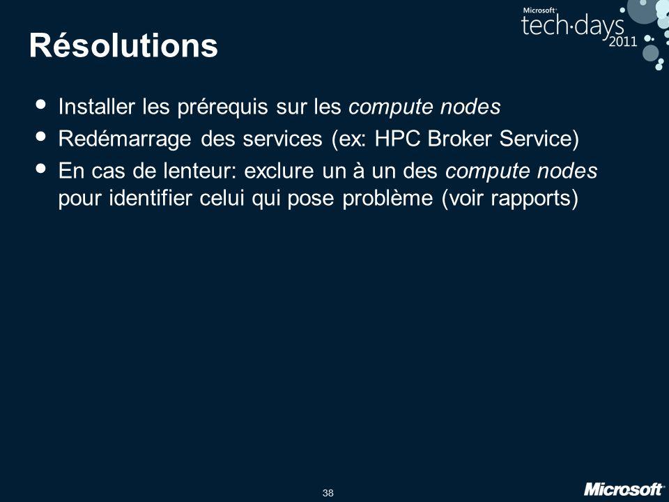 38 Résolutions • Installer les prérequis sur les compute nodes • Redémarrage des services (ex: HPC Broker Service) • En cas de lenteur: exclure un à u