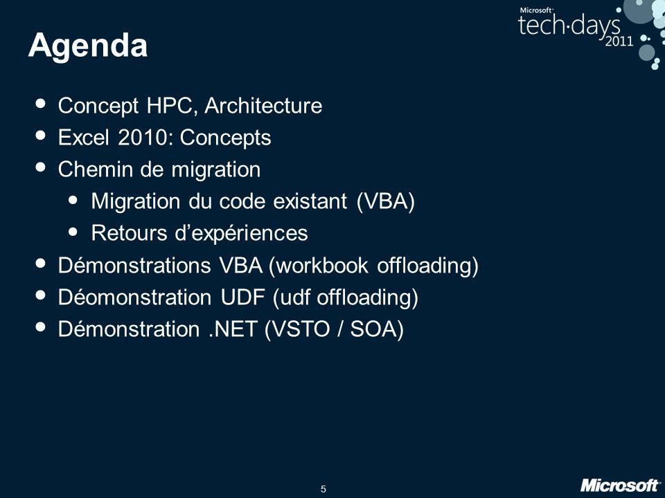 5 Agenda • Concept HPC, Architecture • Excel 2010: Concepts • Chemin de migration • Migration du code existant (VBA) • Retours d'expériences • Démonst
