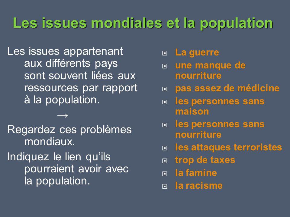 Les issues appartenant aux différents pays sont souvent liées aux ressources par rapport à la population. → Regardez ces problèmes mondiaux. Indiquez