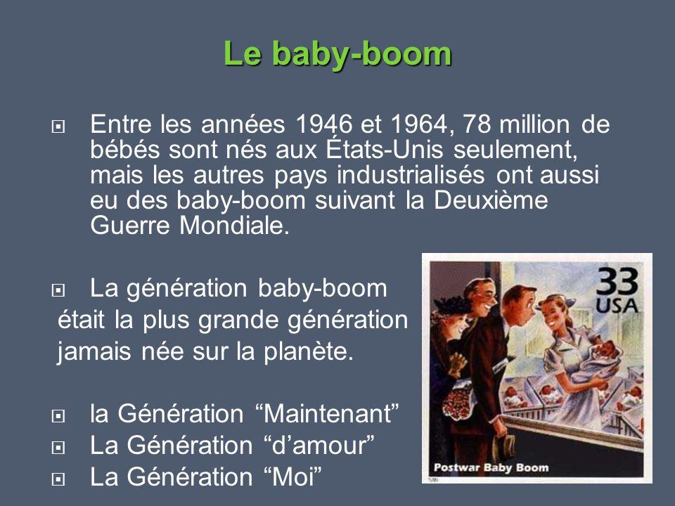  Entre les années 1946 et 1964, 78 million de bébés sont nés aux États-Unis seulement, mais les autres pays industrialisés ont aussi eu des baby-boom