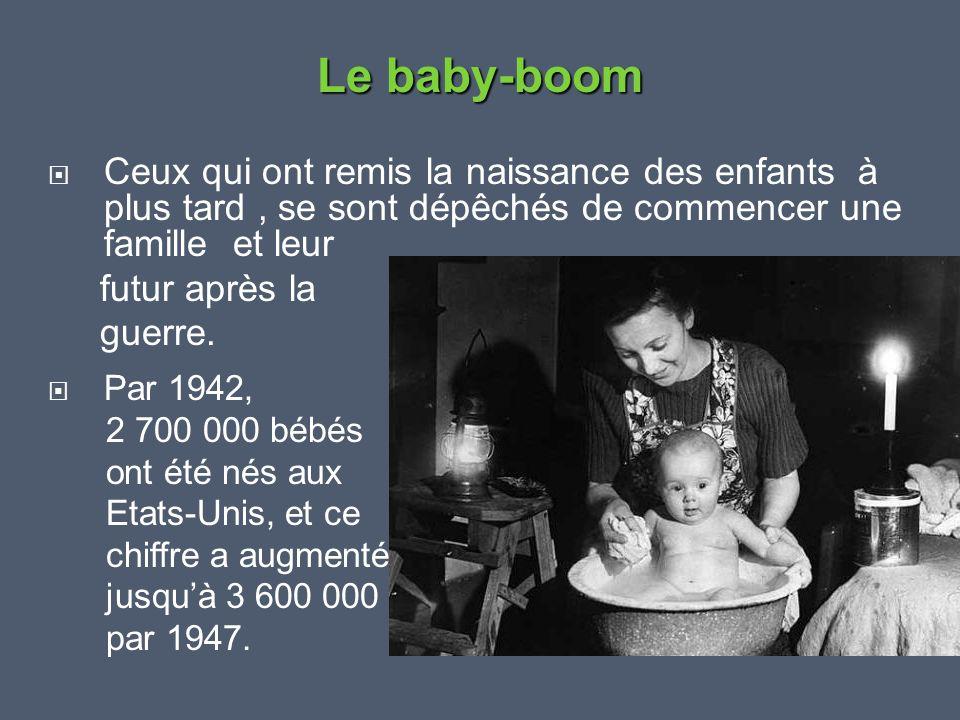  Ceux qui ont remis la naissance des enfants à plus tard, se sont dépêchés de commencer une famille et leur futur après la guerre.  Par 1942, 2 700
