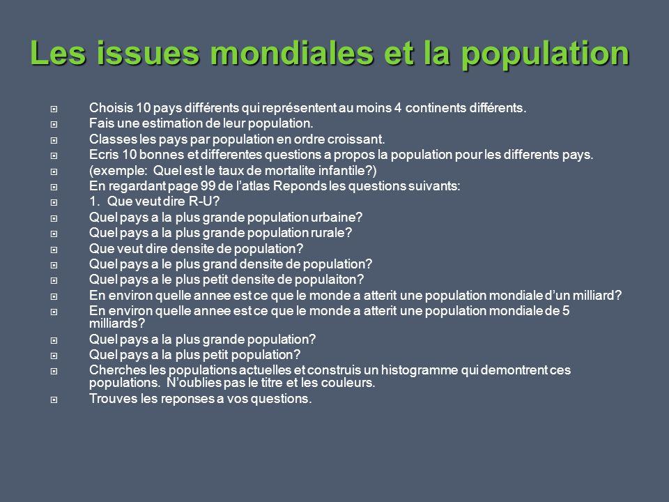  Feuille de questions, travail remis et noté Le projet de recherche sur la population