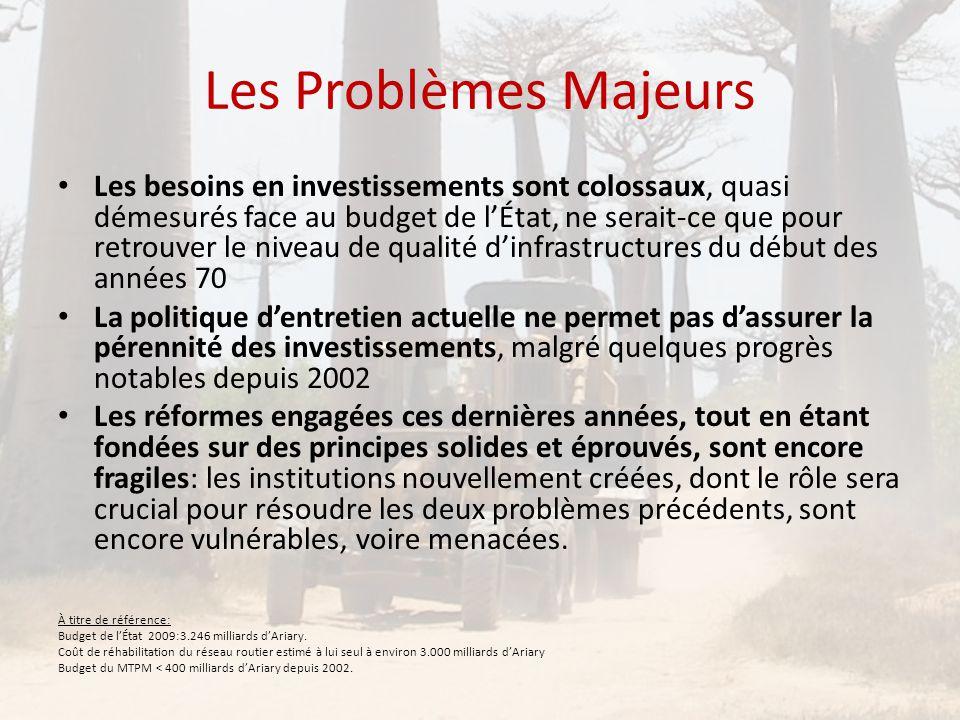Les Problèmes Majeurs • Les besoins en investissements sont colossaux, quasi démesurés face au budget de l'État, ne serait-ce que pour retrouver le ni