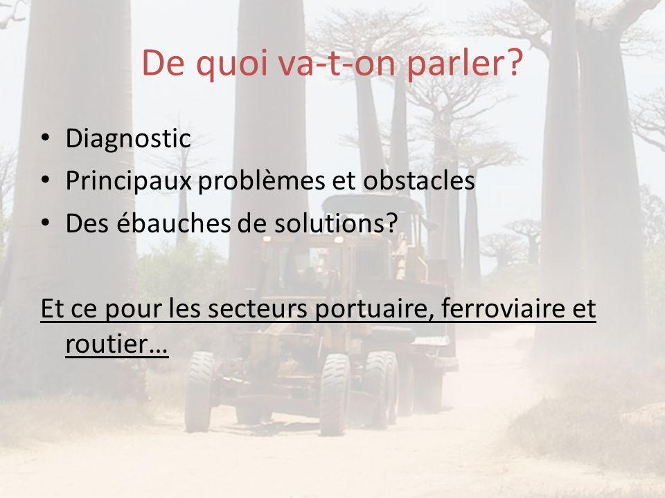De quoi va-t-on parler? • Diagnostic • Principaux problèmes et obstacles • Des ébauches de solutions? Et ce pour les secteurs portuaire, ferroviaire e