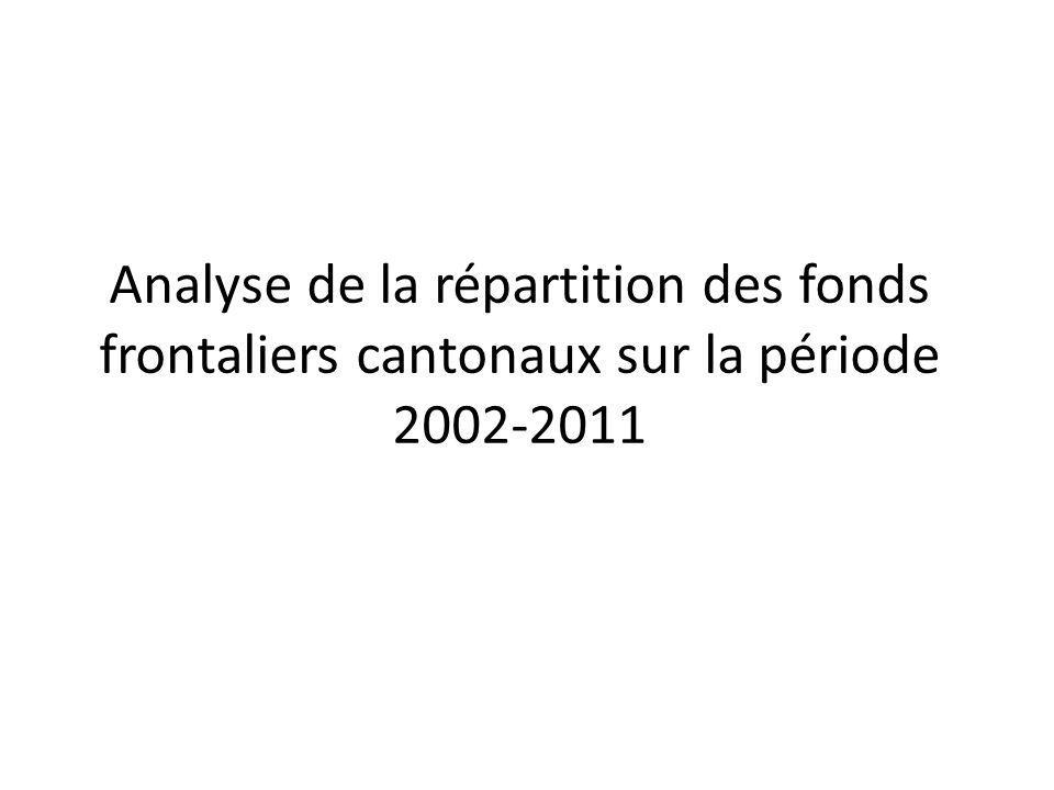 Analyse de la répartition des fonds frontaliers cantonaux sur la période 2002-2011