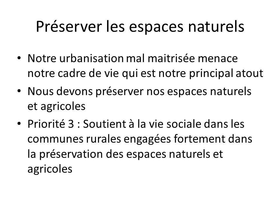 Préserver les espaces naturels • Notre urbanisation mal maitrisée menace notre cadre de vie qui est notre principal atout • Nous devons préserver nos espaces naturels et agricoles • Priorité 3 : Soutient à la vie sociale dans les communes rurales engagées fortement dans la préservation des espaces naturels et agricoles