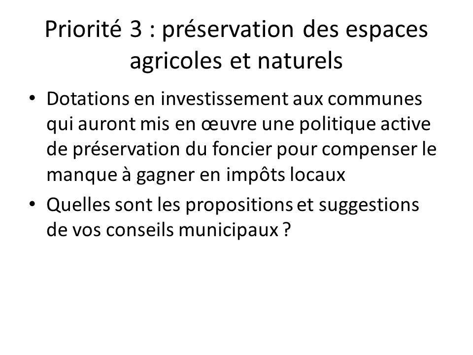 Priorité 3 : préservation des espaces agricoles et naturels • Dotations en investissement aux communes qui auront mis en œuvre une politique active de préservation du foncier pour compenser le manque à gagner en impôts locaux • Quelles sont les propositions et suggestions de vos conseils municipaux