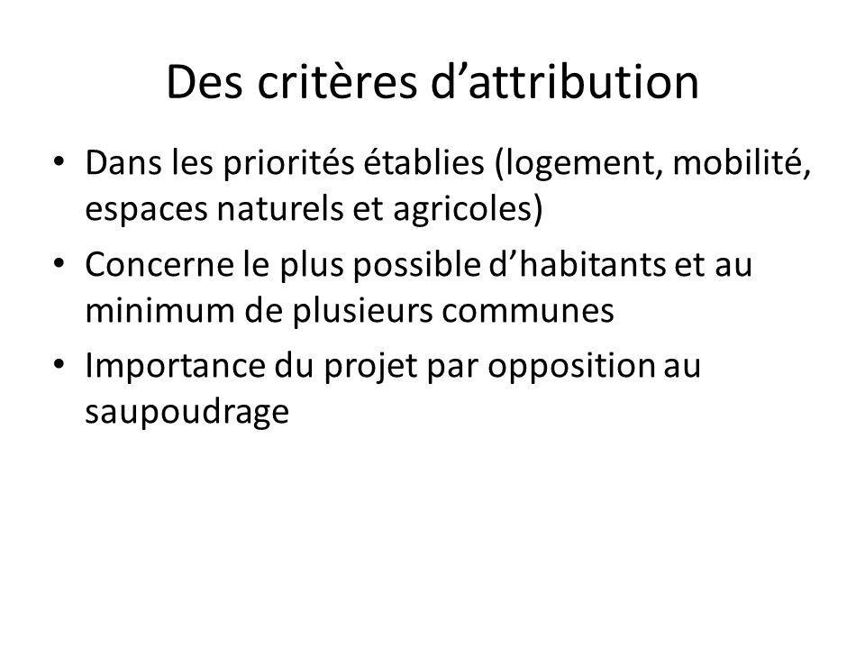 Des critères d'attribution • Dans les priorités établies (logement, mobilité, espaces naturels et agricoles) • Concerne le plus possible d'habitants et au minimum de plusieurs communes • Importance du projet par opposition au saupoudrage