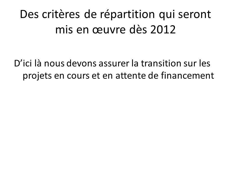 Des critères de répartition qui seront mis en œuvre dès 2012 D'ici là nous devons assurer la transition sur les projets en cours et en attente de financement