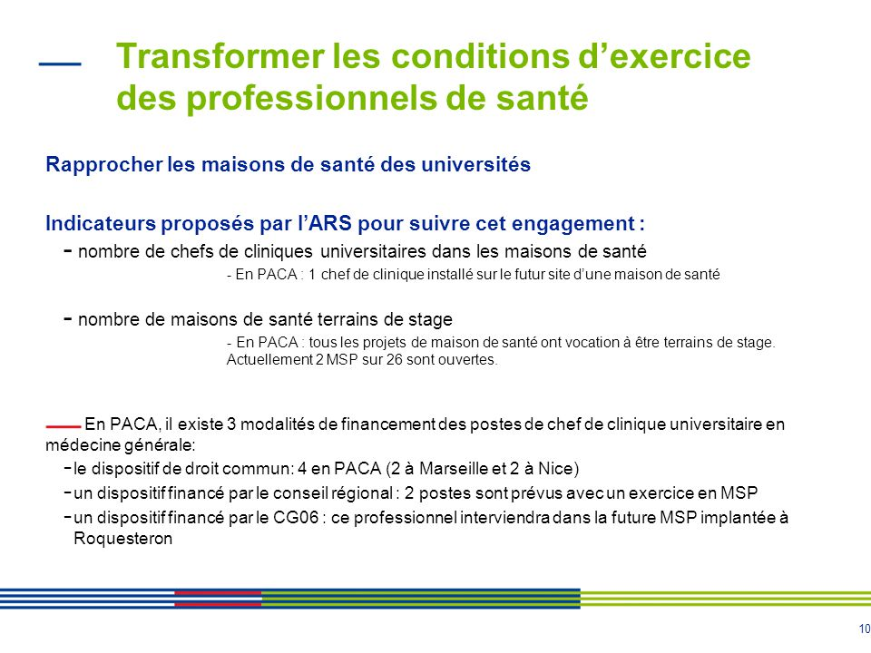 10 Transformer les conditions d'exercice des professionnels de santé Rapprocher les maisons de santé des universités Indicateurs proposés par l'ARS po