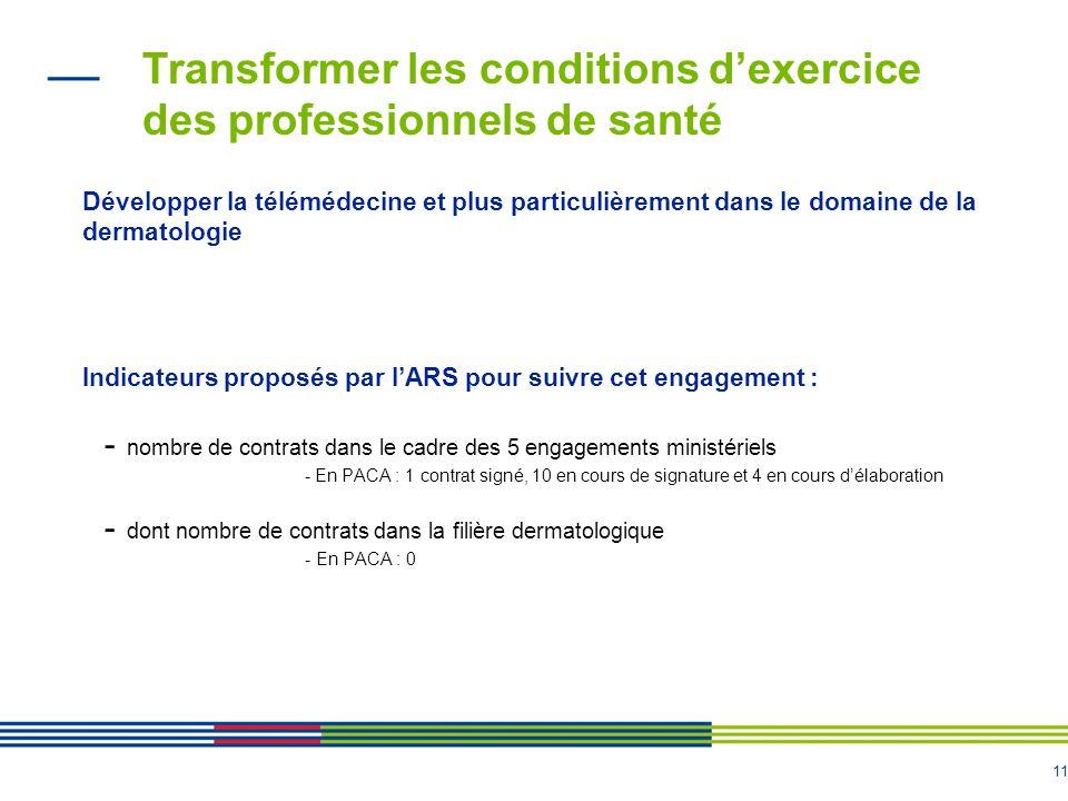 11 Transformer les conditions d'exercice des professionnels de santé Développer la télémédecine et plus particulièrement dans le domaine de la dermatologie Indicateurs proposés par l'ARS pour suivre cet engagement : - nombre de contrats dans le cadre des 5 engagements ministériels - En PACA : 1 contrat signé, 10 en cours de signature et 4 en cours d'élaboration - dont nombre de contrats dans la filière dermatologique - En PACA : 0