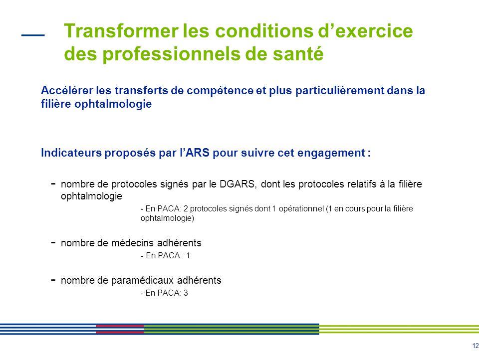 12 Transformer les conditions d'exercice des professionnels de santé Accélérer les transferts de compétence et plus particulièrement dans la filière o