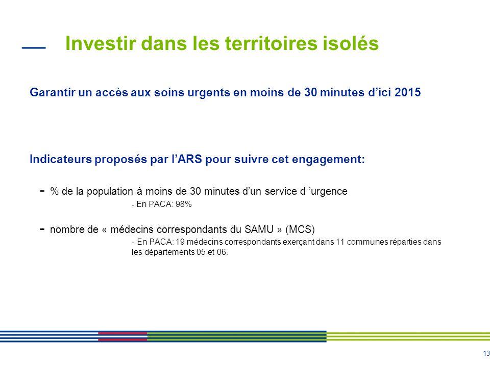 13 Investir dans les territoires isolés Garantir un accès aux soins urgents en moins de 30 minutes d'ici 2015 Indicateurs proposés par l'ARS pour suivre cet engagement: - % de la population à moins de 30 minutes d'un service d 'urgence - En PACA: 98% - nombre de « médecins correspondants du SAMU » (MCS) - En PACA: 19 médecins correspondants exerçant dans 11 communes réparties dans les départements 05 et 06.