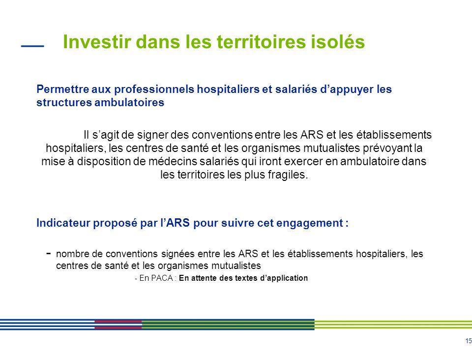 15 Investir dans les territoires isolés Permettre aux professionnels hospitaliers et salariés d'appuyer les structures ambulatoires Il s'agit de signe