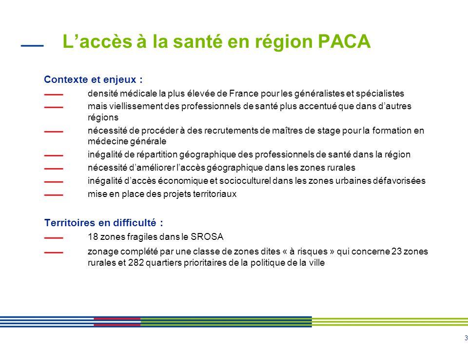 3 L'accès à la santé en région PACA Contexte et enjeux : densité médicale la plus élevée de France pour les généralistes et spécialistes mais vielliss