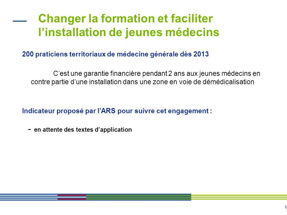 6 Changer la formation et faciliter l'installation de jeunes médecins 200 praticiens territoriaux de médecine générale dès 2013 C'est une garantie fin