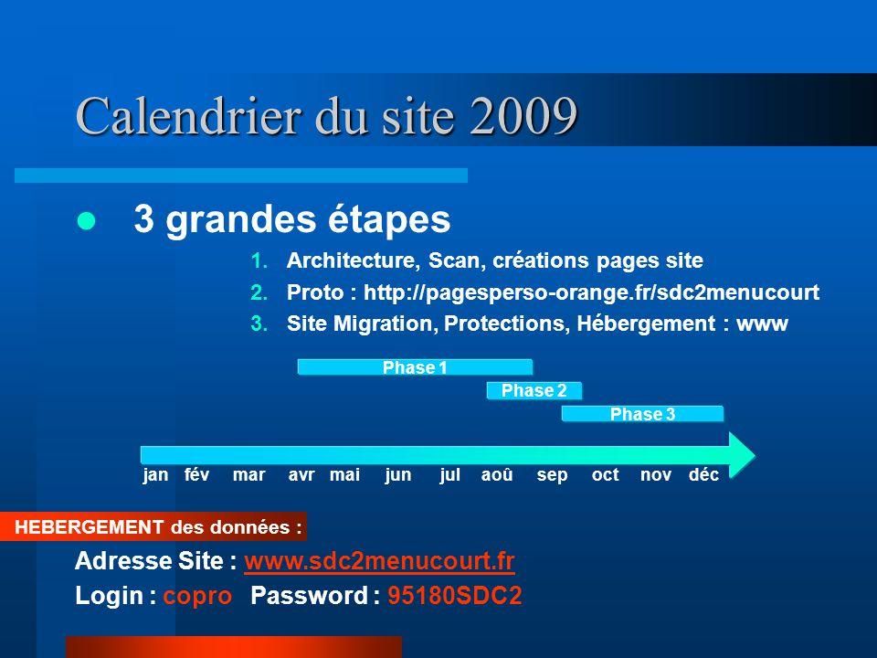 Calendrier du site 2009  3 grandes étapes 1.Architecture, Scan, créations pages site 2.Proto : http://pagesperso-orange.fr/sdc2menucourt 3.Site Migra