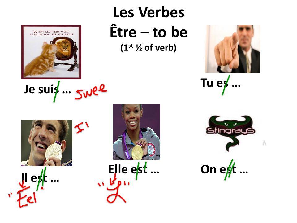 Les Verbes Être – to be (1 st ½ of verb) Je suis … On est …Elle est … Il est … Tu es …