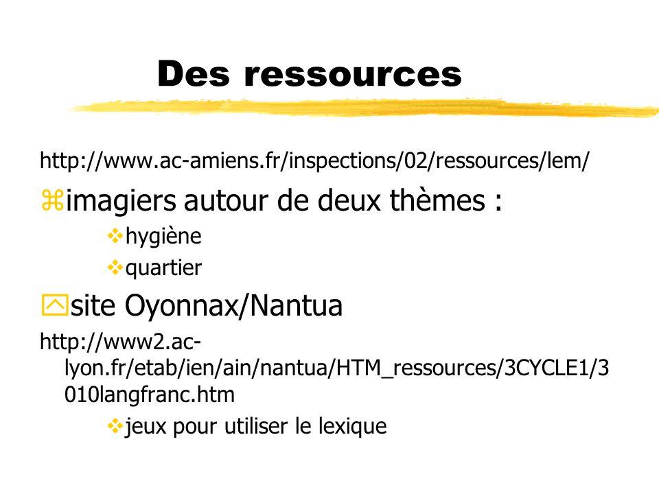 Des ressources http://www.ac-amiens.fr/inspections/02/ressources/lem/ zimagiers autour de deux thèmes : vhygiène vquartier ysite Oyonnax/Nantua http:/