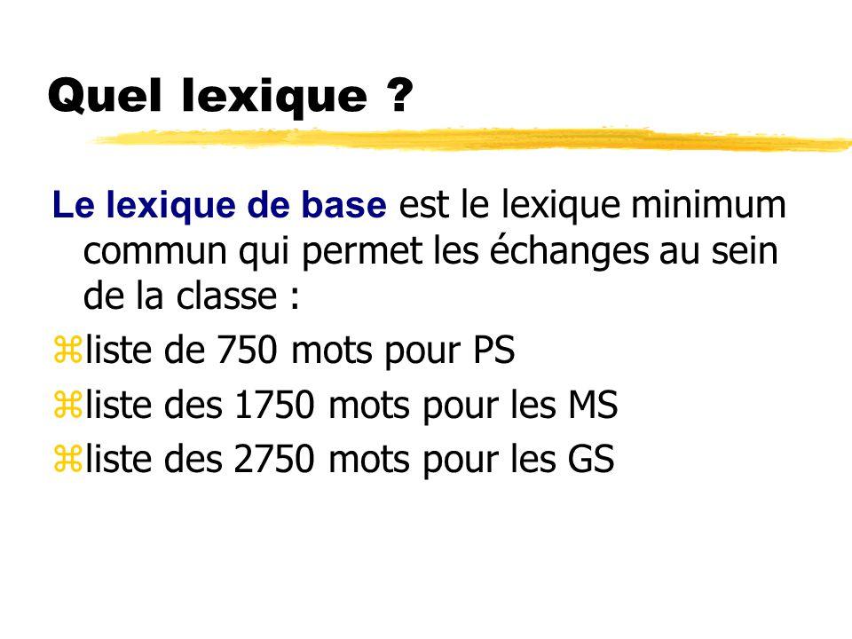 Quel lexique ? Le lexique de base est le lexique minimum commun qui permet les échanges au sein de la classe : zliste de 750 mots pour PS zliste des 1