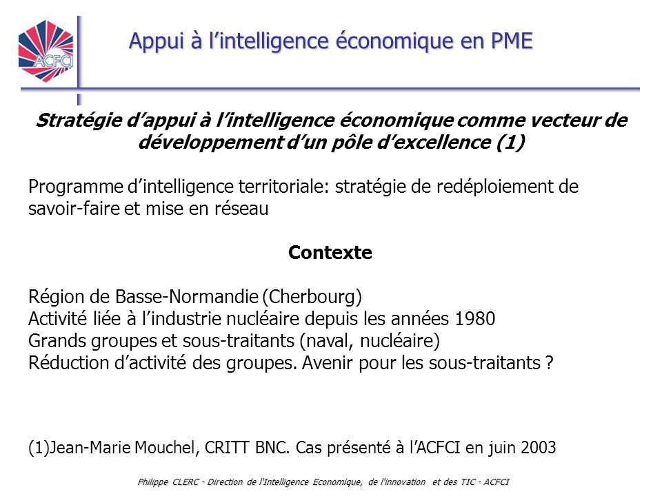 Appui à l'intelligence économique en PME Philippe CLERC - Direction de l'Intelligence Economique, de l'innovation et des TIC - ACFCI Stratégie d'appui