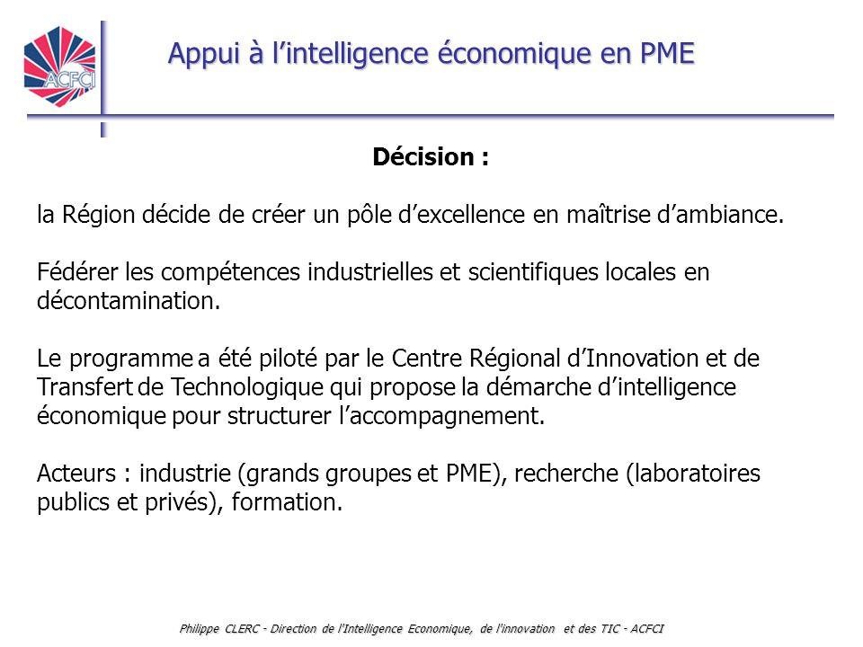 Appui à l'intelligence économique en PME Philippe CLERC - Direction de l'Intelligence Economique, de l'innovation et des TIC - ACFCI Décision : la Rég