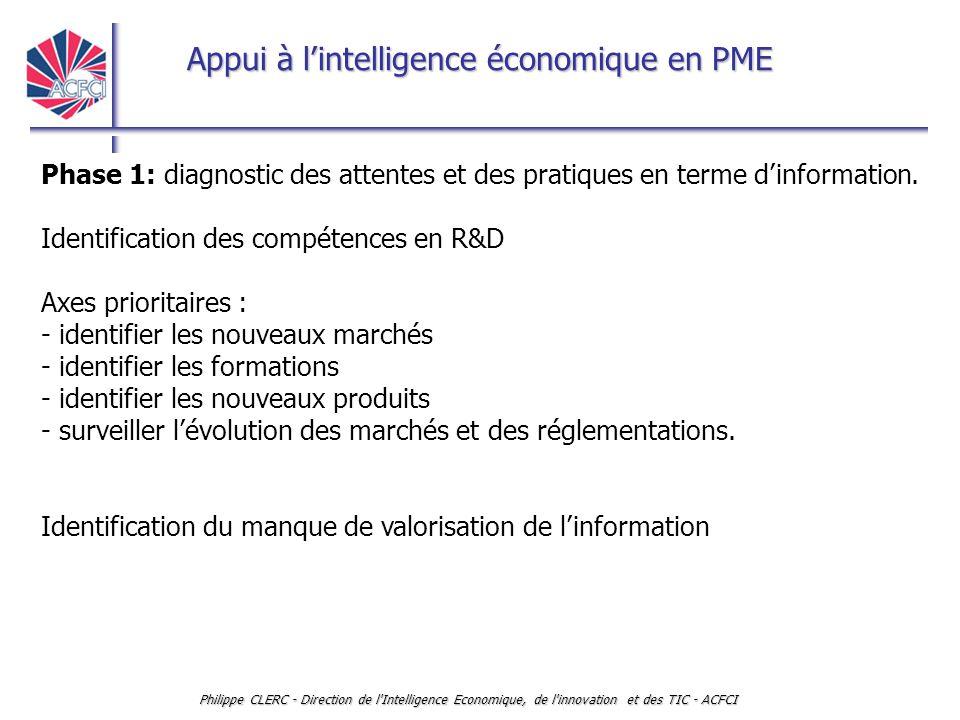 Appui à l'intelligence économique en PME Philippe CLERC - Direction de l'Intelligence Economique, de l'innovation et des TIC - ACFCI Phase 1: diagnost