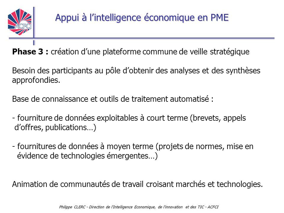 Appui à l'intelligence économique en PME Philippe CLERC - Direction de l'Intelligence Economique, de l'innovation et des TIC - ACFCI Phase 3 : créatio