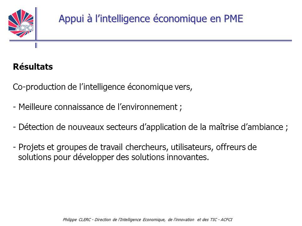 Appui à l'intelligence économique en PME Philippe CLERC - Direction de l'Intelligence Economique, de l'innovation et des TIC - ACFCI Résultats Co-prod
