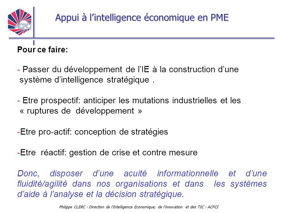 Appui à l'intelligence économique en PME Philippe CLERC - Direction de l'Intelligence Economique, de l'innovation et des TIC - ACFCI Pour ce faire: -