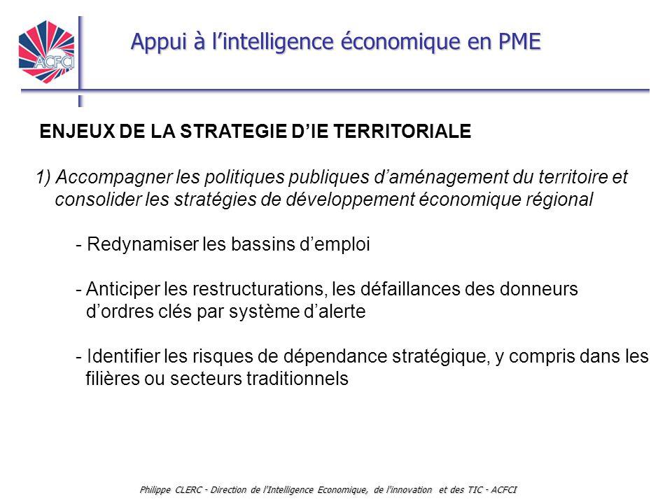 Appui à l'intelligence économique en PME Philippe CLERC - Direction de l'Intelligence Economique, de l'innovation et des TIC - ACFCI ENJEUX DE LA STRA