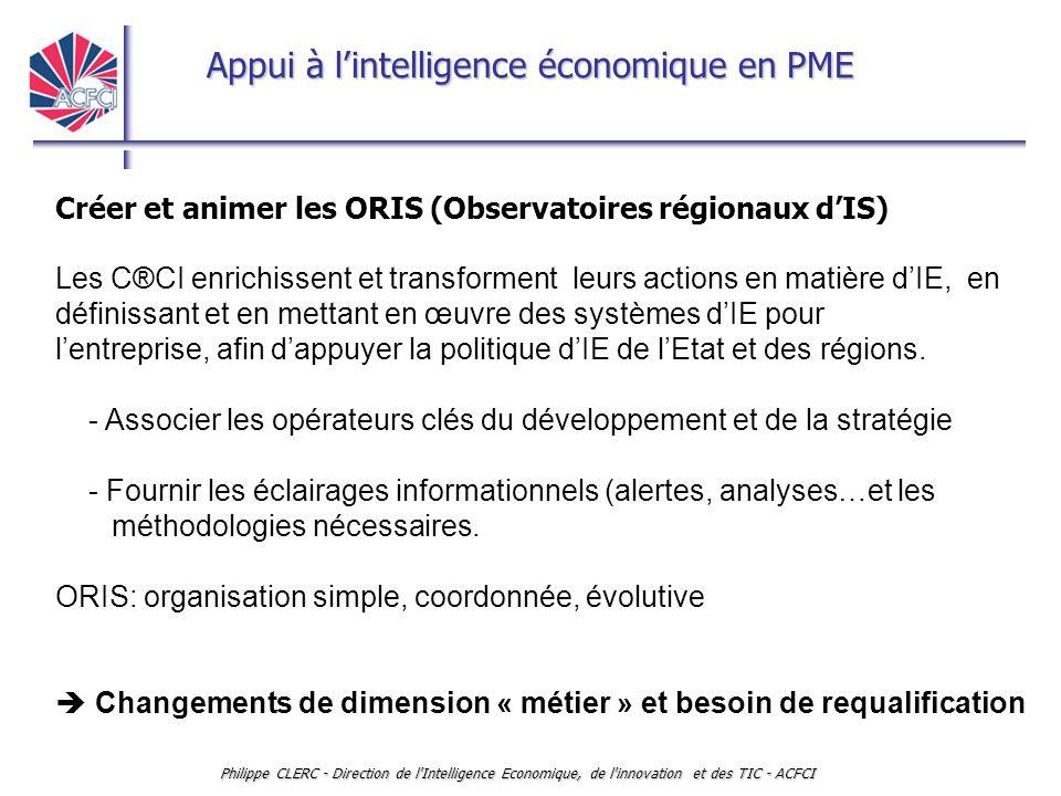 Appui à l'intelligence économique en PME Philippe CLERC - Direction de l'Intelligence Economique, de l'innovation et des TIC - ACFCI Créer et animer l