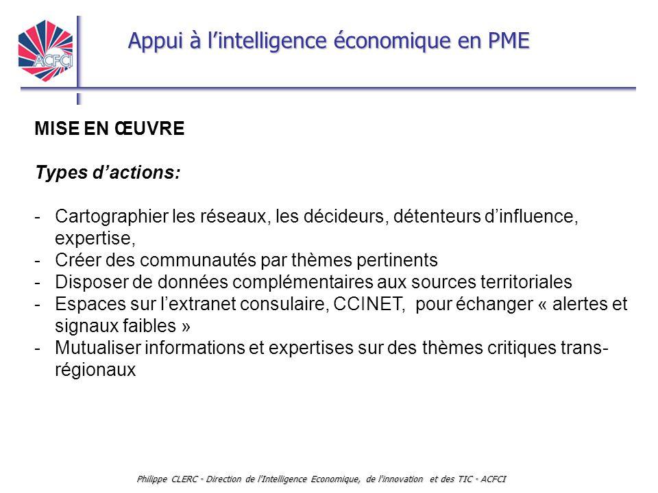 Appui à l'intelligence économique en PME Philippe CLERC - Direction de l'Intelligence Economique, de l'innovation et des TIC - ACFCI MISE EN ŒUVRE Typ