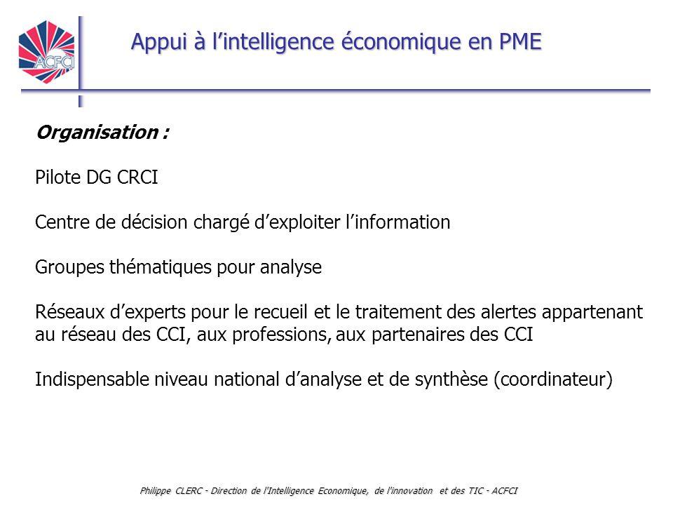 Appui à l'intelligence économique en PME Philippe CLERC - Direction de l'Intelligence Economique, de l'innovation et des TIC - ACFCI Organisation : Pi