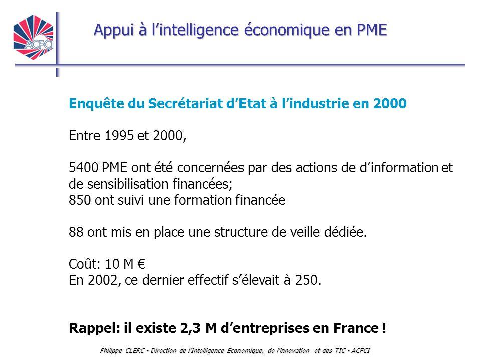 Appui à l'intelligence économique en PME Philippe CLERC - Direction de l'Intelligence Economique, de l'innovation et des TIC - ACFCI Enquête du Secrét