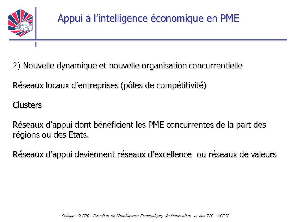 Appui à l'intelligence économique en PME Philippe CLERC - Direction de l'Intelligence Economique, de l'innovation et des TIC - ACFCI Nouvelle dynamiqu