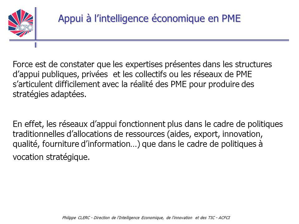 Appui à l'intelligence économique en PME Philippe CLERC - Direction de l'Intelligence Economique, de l'innovation et des TIC - ACFCI Force est de cons
